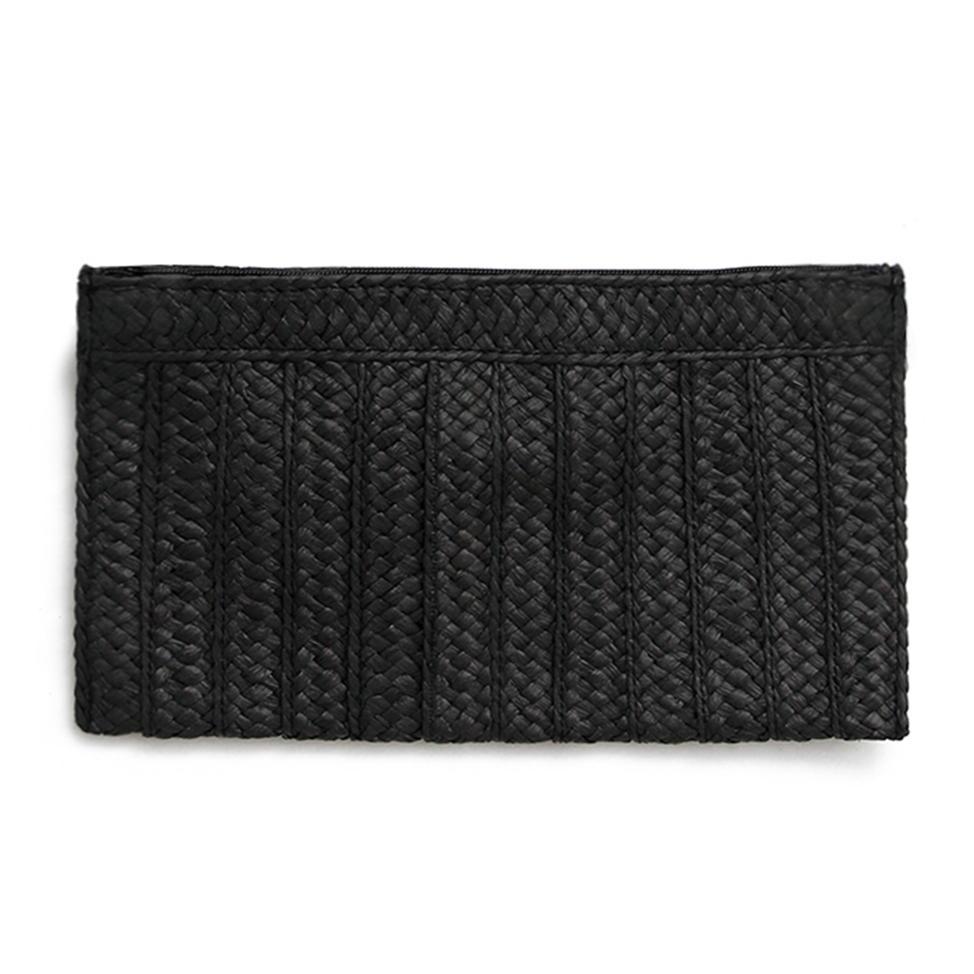 Woven Straw Clutch Bag in Black