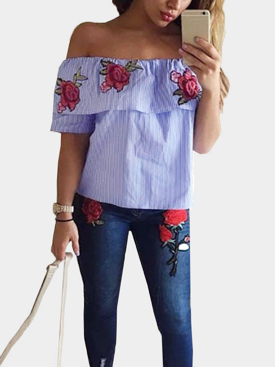 Blue Off-The-Shoulder Random Floral Embroidered Stripe Top pearl detail frill off shoulder dress
