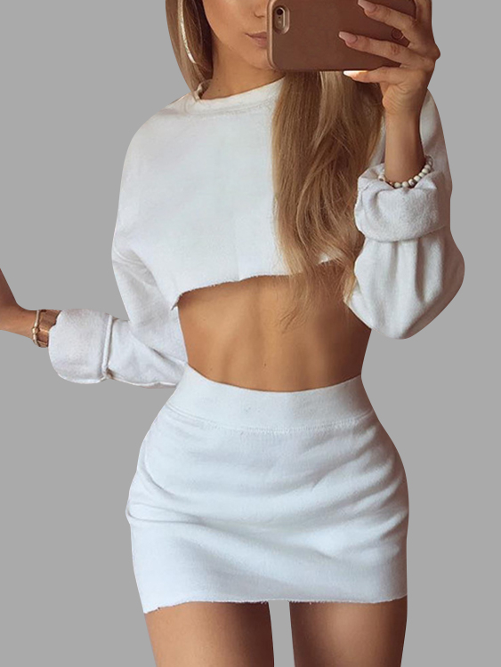 White Two Piece Outfits Crew Neck Long Sleeves Mini Skirt Co-ords