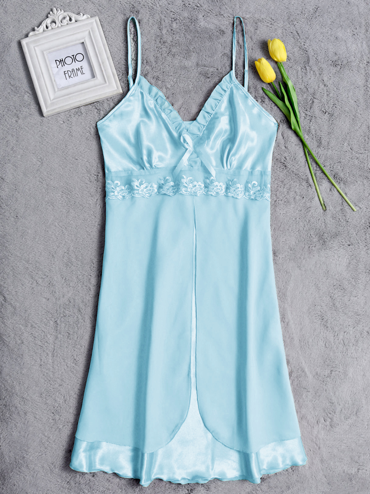 Blue Sexy V-neck Lace Details Silk Material Pajamas Dress sexy v neck silk material pajamas set in green