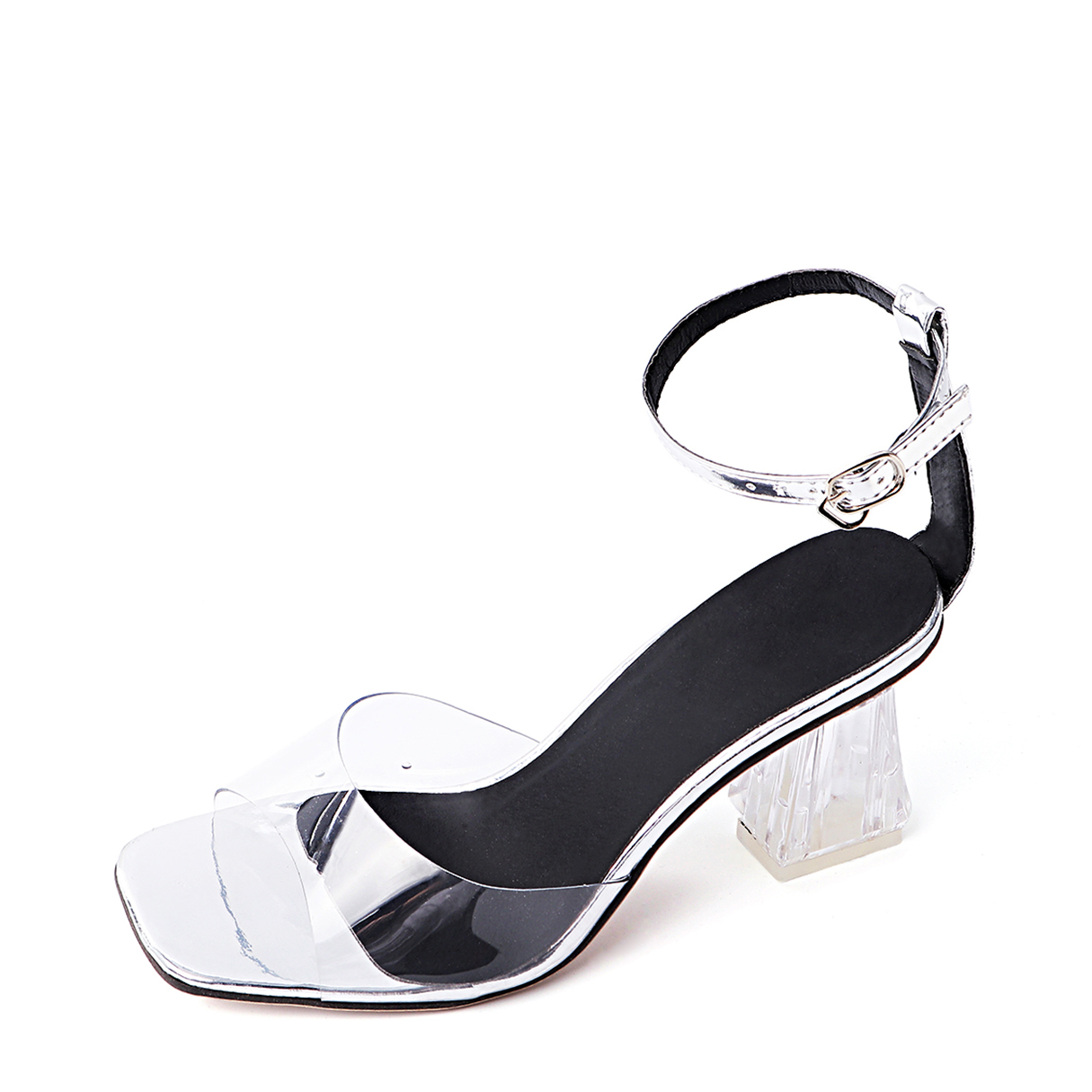 Silver PVC Ankle Strap Chunky Heel Sandals flock leather women ankle strap high heel sandals platform sexy fashion party shoes for woman black with 10cm heels ch a0060