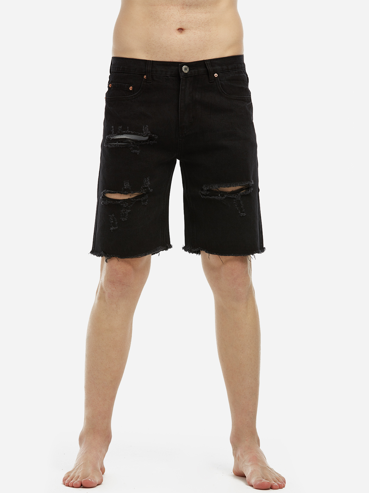 Black Street Style Washed Big Ripped Details Short Jeans