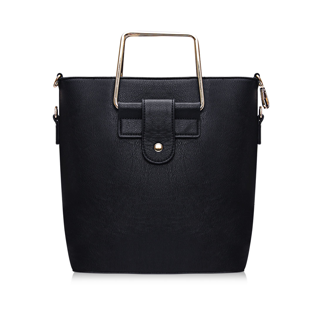 Black Artificial Leather Shoulder Bag