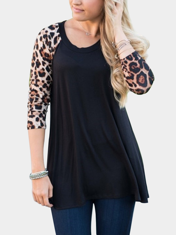 Black Cozy Round Neck Raglan Sleeves Leopard Print Top grey sexy round neck raglan sleeves hollow design top