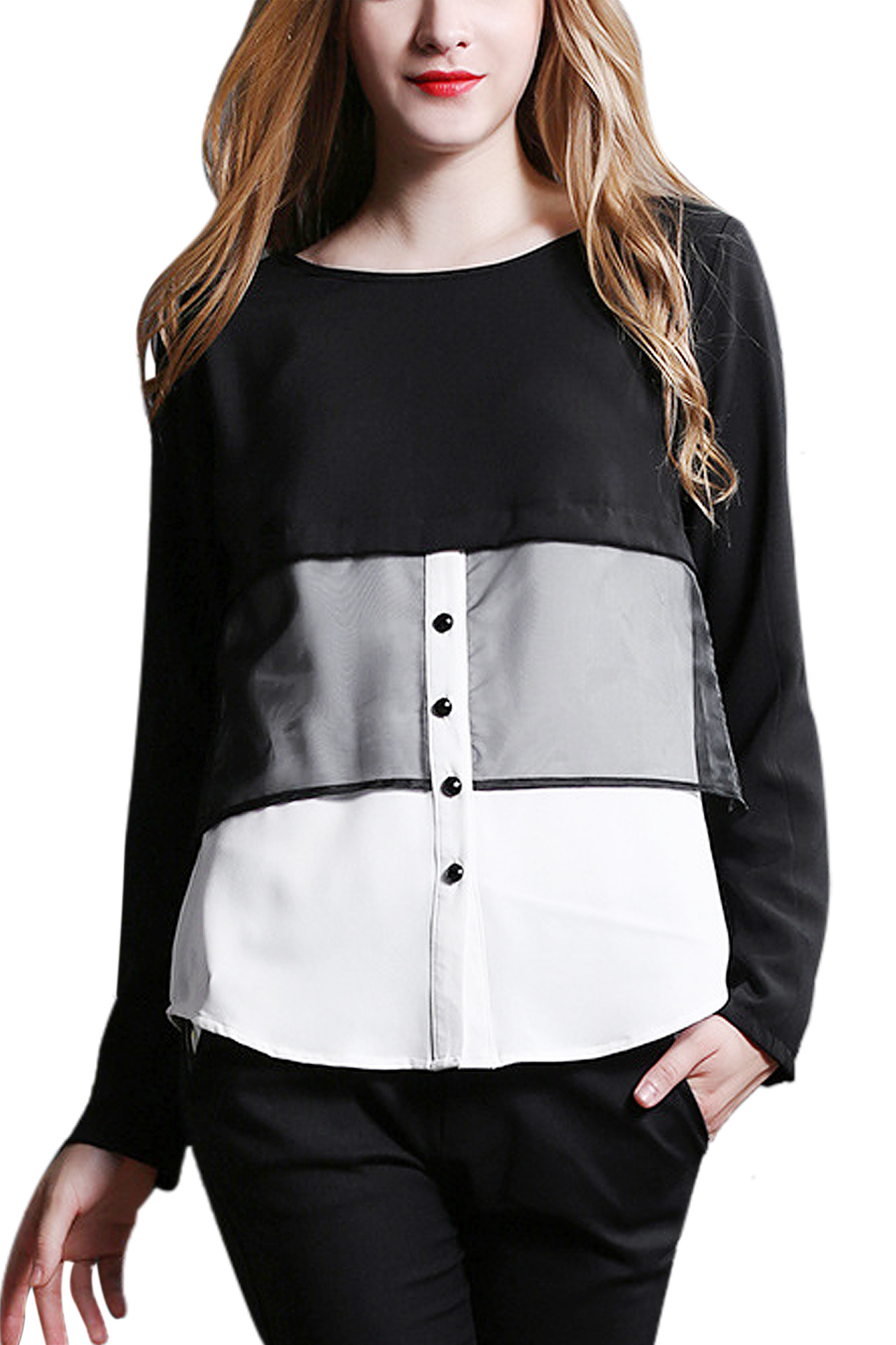 Mesh Stitching Round Collar Shirt with Button Front