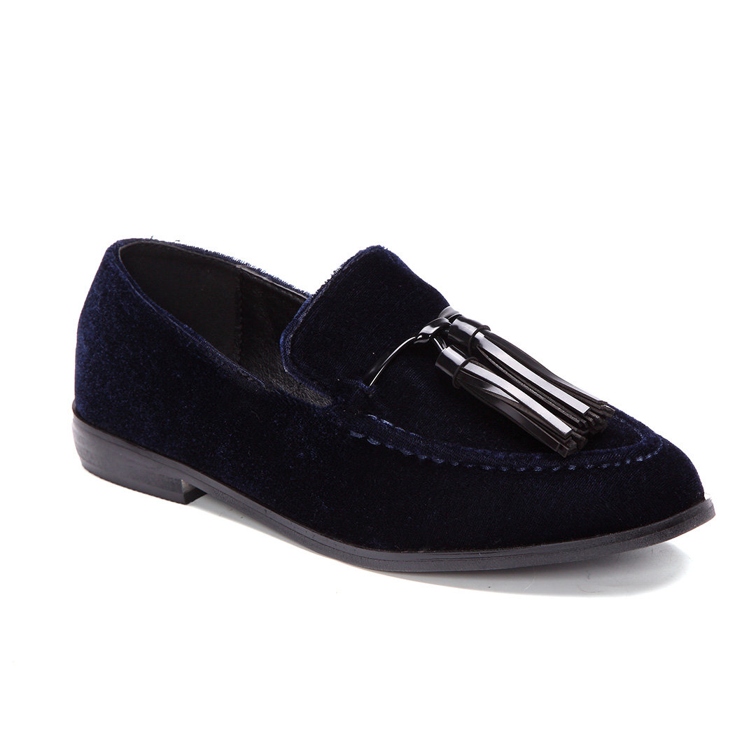 Dark Blue Tassel Embellished Velvet Loafers