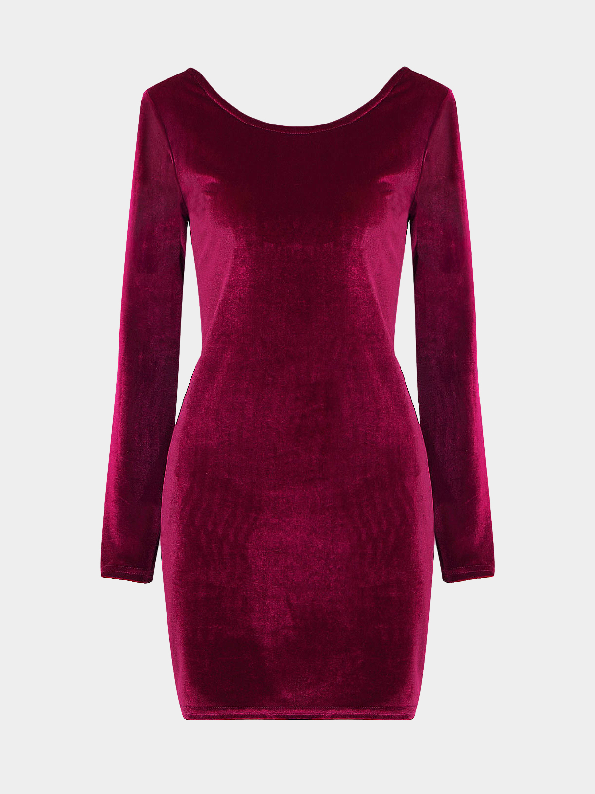 Burgundy Velvet Body-Conscious Dress with Open Back