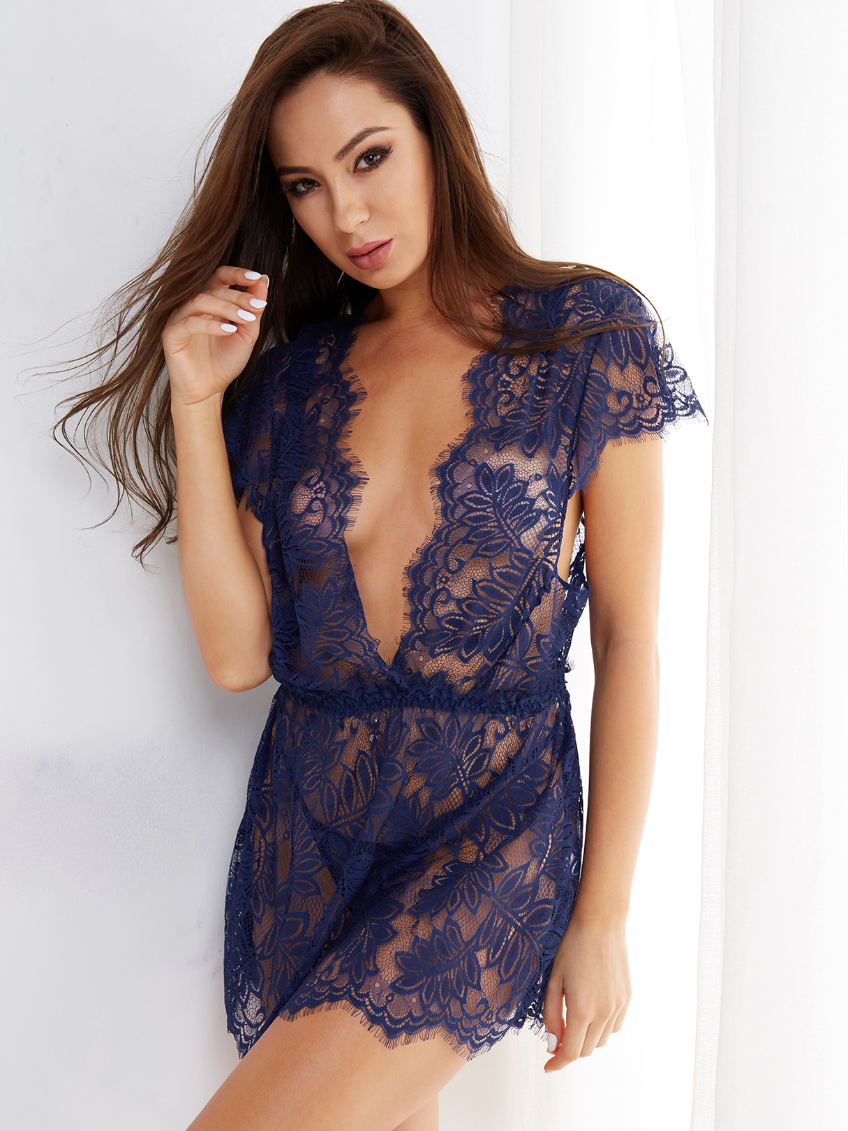 Royal Tease Deep V-neck Delicate Lace Eyelash Trim Pajamas with Thong eyelash lace deep v neck sleep romper