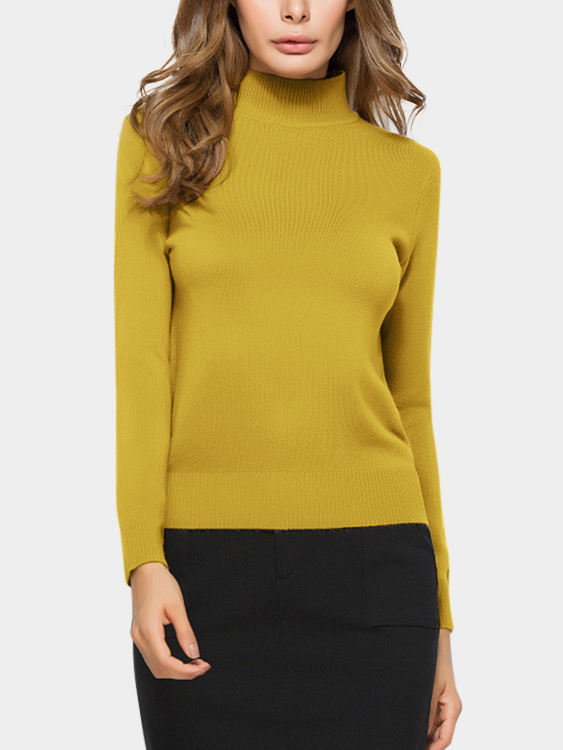 Yellow Perkins Collar Knitted Thin Jumper