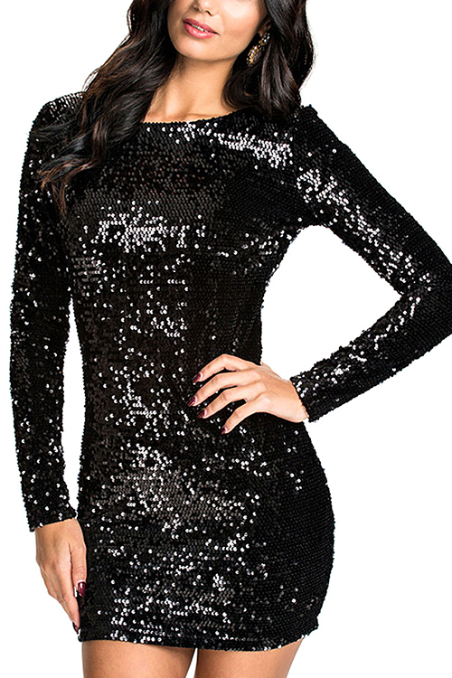 Black Sequin Dress with Cut Out Back