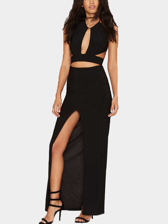 Black Sexy Sleeveless and Backless Splited Maxi Dress