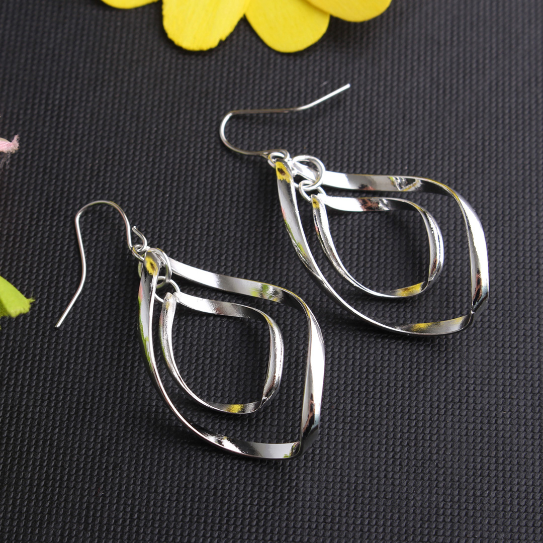 Silver Plated Double Spiral Design Drop Earrings