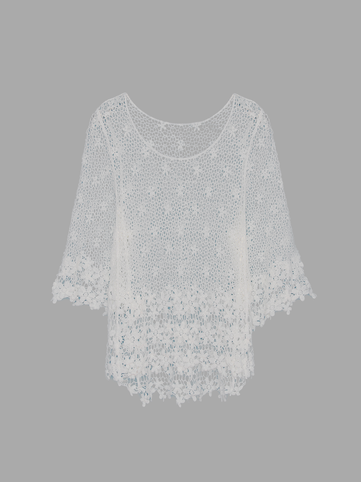 Hollow Out Top with 1/2 Length Sleeves