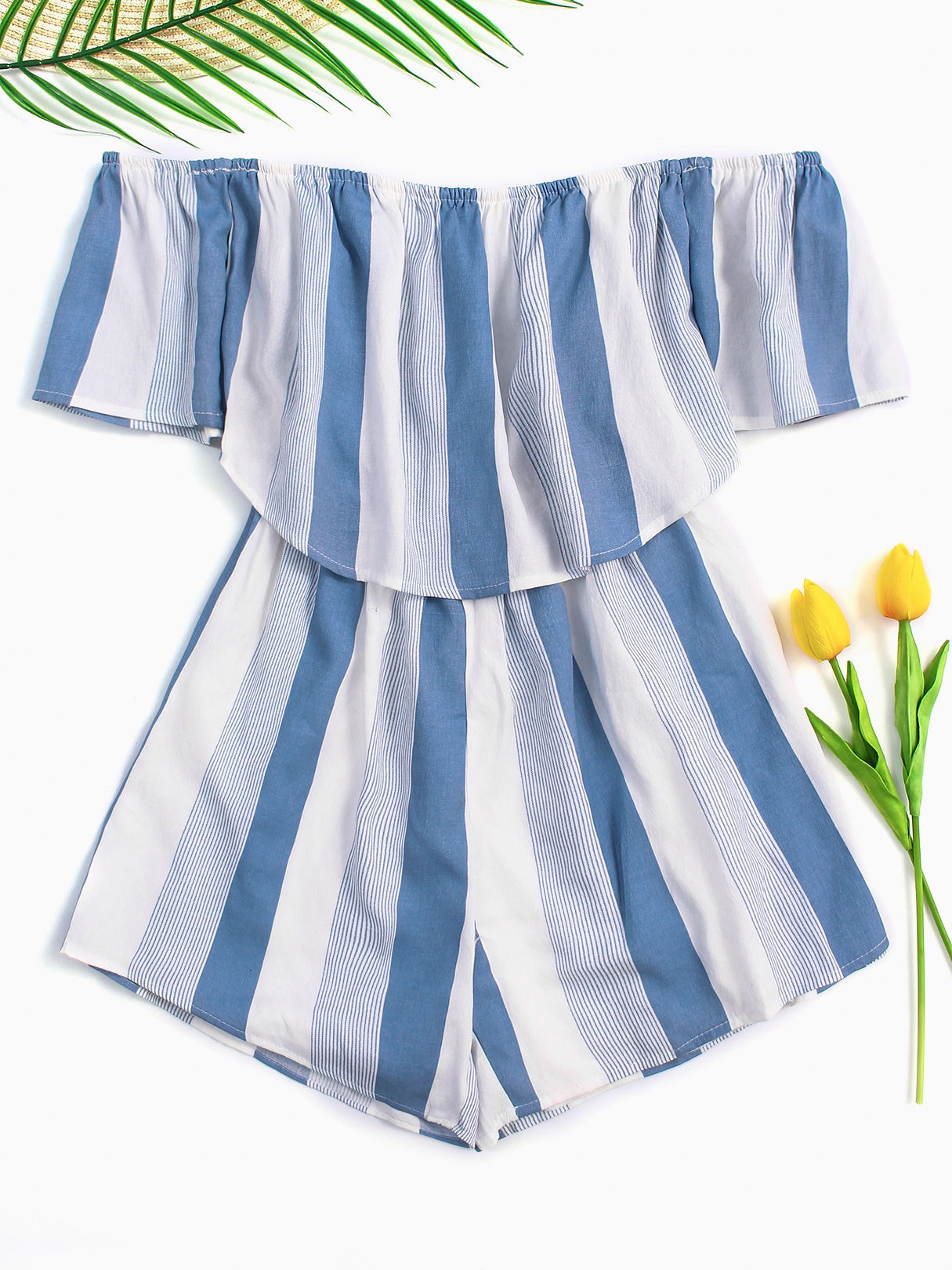 Light Blue Stripe Pattern Off Shoulder Short Sleeves Playsuit stripe off the shoulder crop top in light blue