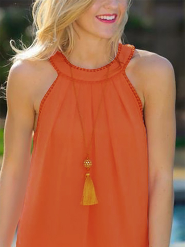 Orange Hollow Out Back Lace Detail Sleeveless Vest black hollow out ribbon bow back sleeveless lace top