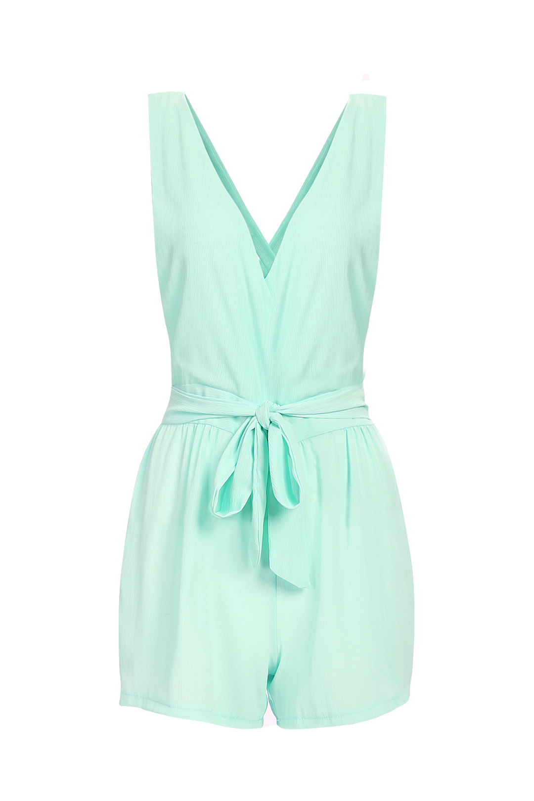 Mint Semi-sheer Plunge V-neck Self-tie Playsuit цена