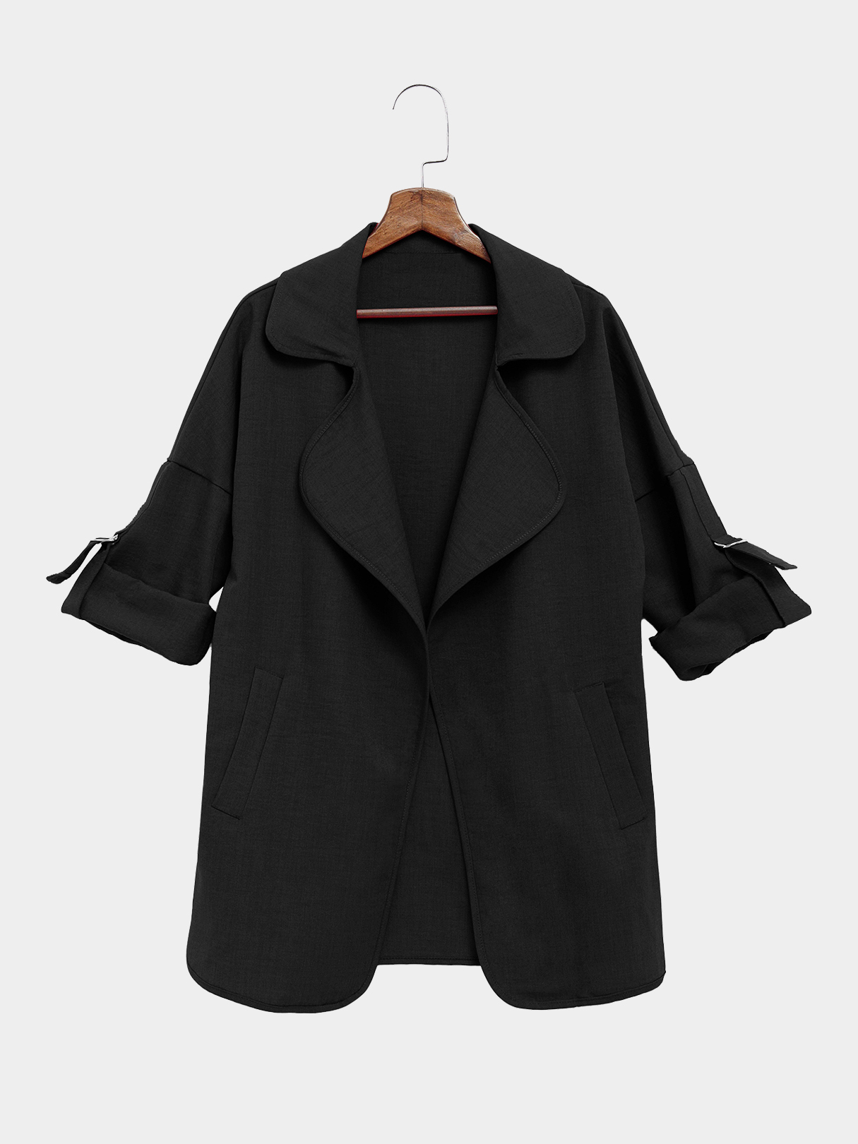 Black Trench Coat With Lapel Collar