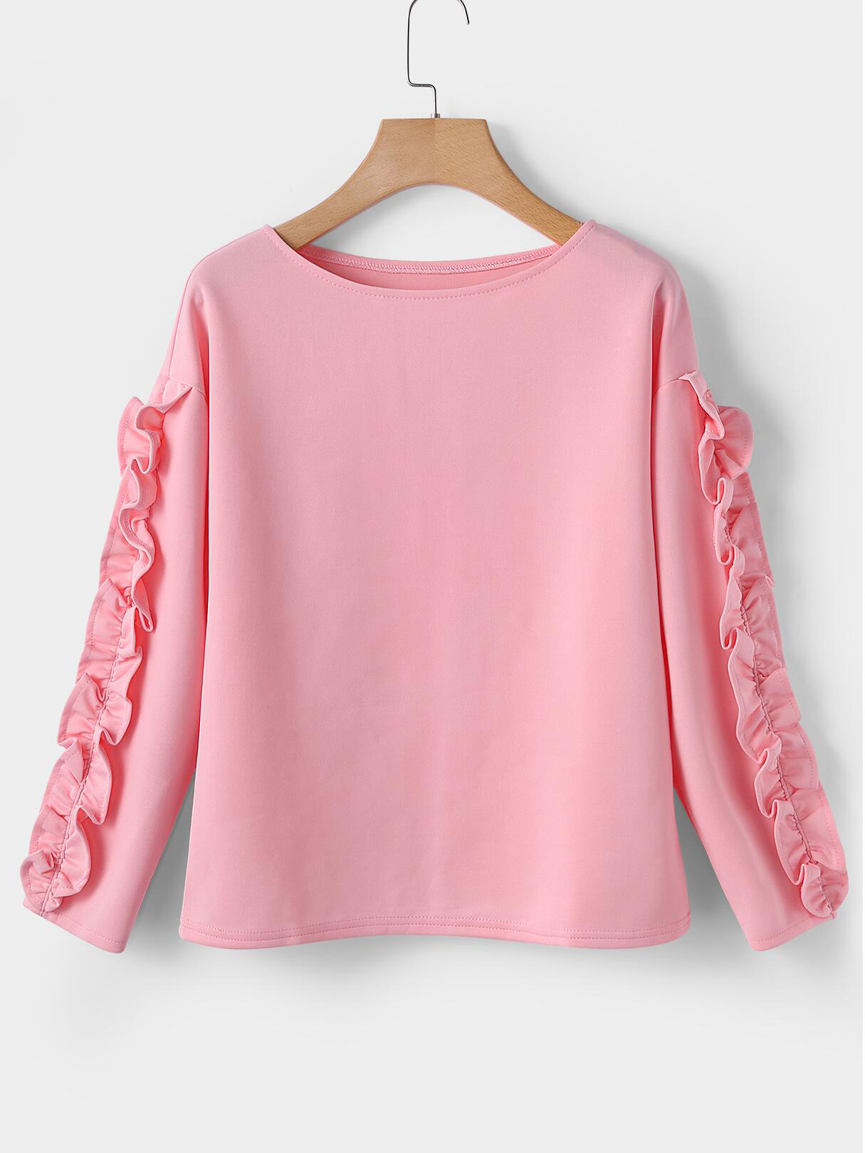 Pink Flounced hem Round Neck Long Sleeves T-shirts