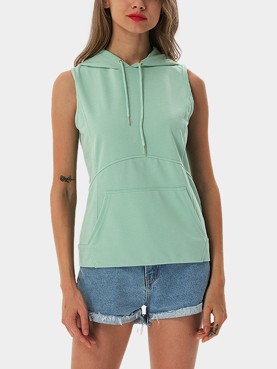 Mint Green Casual Sleeveless Hooded Top white casual sleeveless hooded top