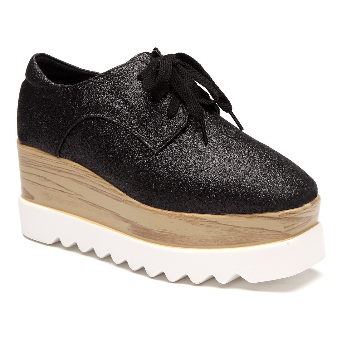 Black Glitter Lace-up Design Platfrom Shoes