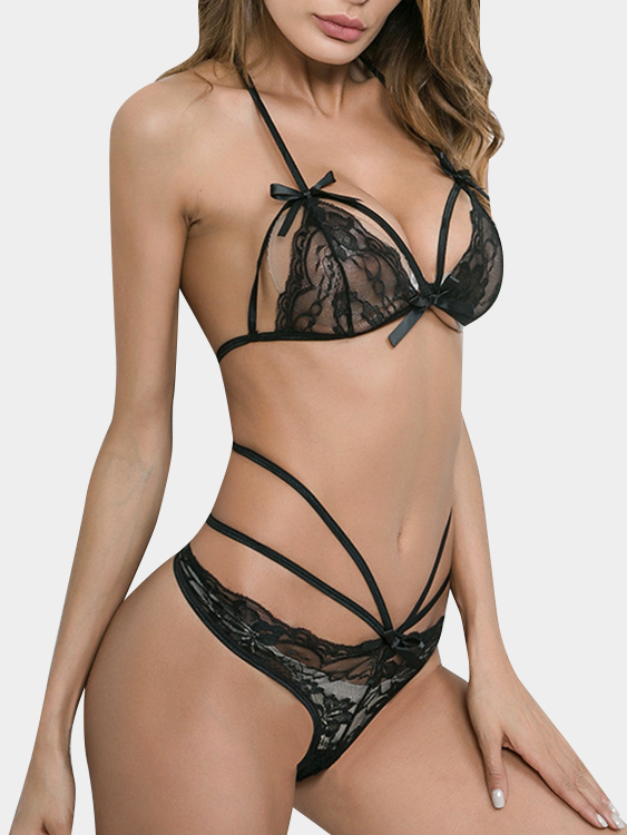 Black Halter Lace-up Lace Lingerie Sets with No Falsies sexy black lace lingerie set with no falsies