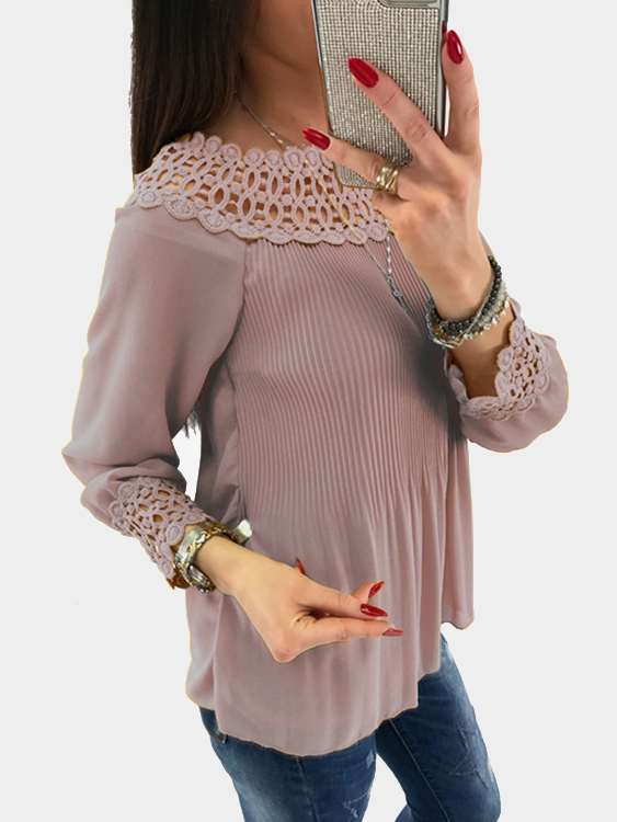 Pink Lace Details Off The Shoulder Long Sleeves Blouse цены