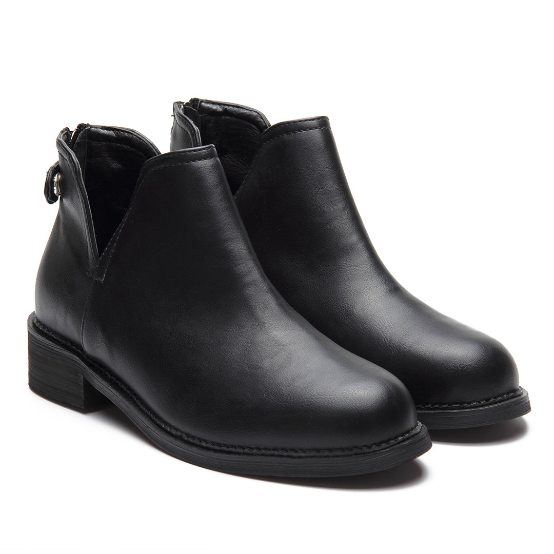Black Fashion Leather-look Ankle Boots with Zipper Back Design