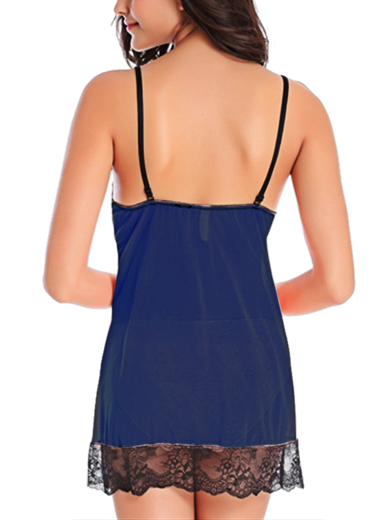Dark Blue V-neck Lace Detail Pajamas Set with T-back ведро под швабру white cloud press water 24l