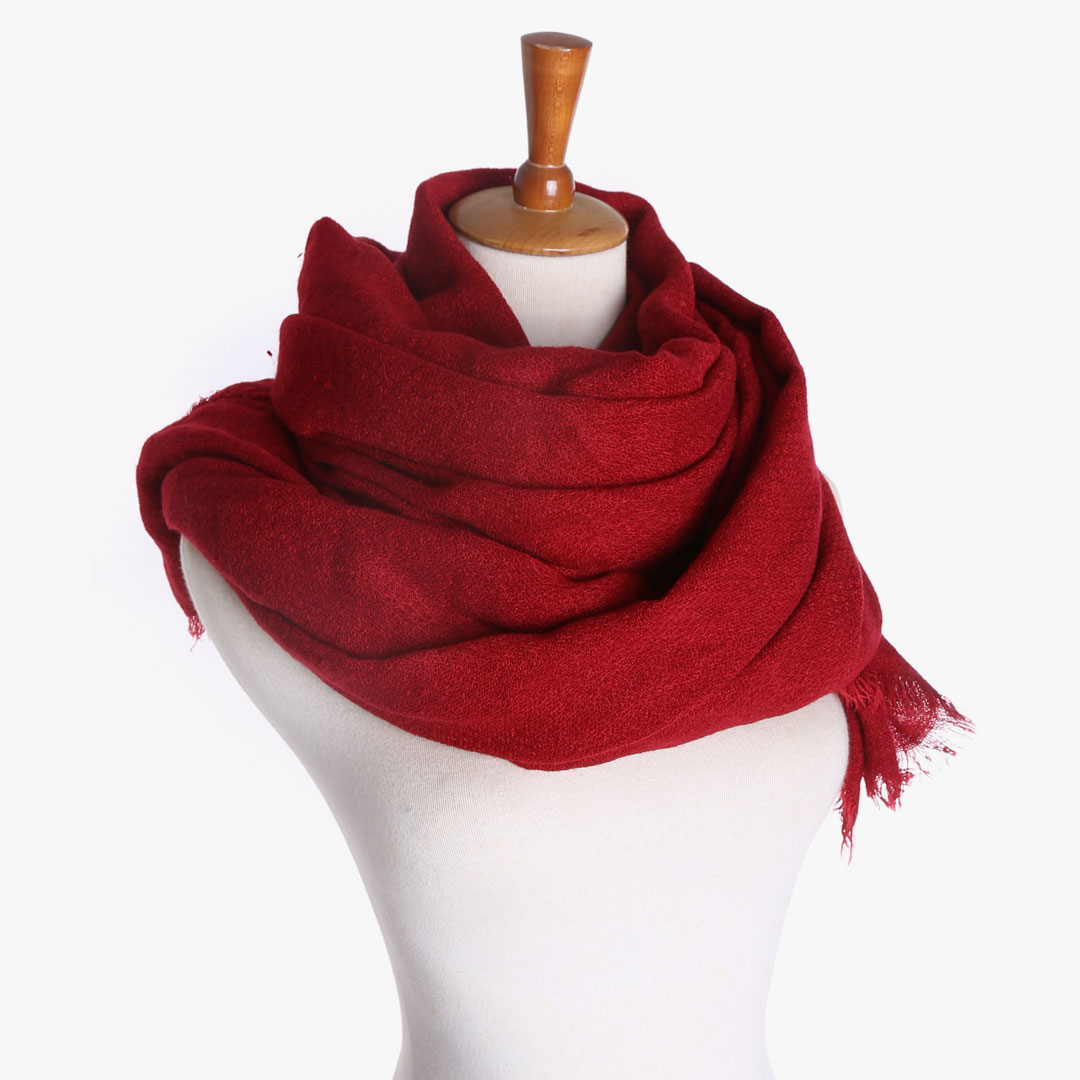 Shawl Scarf in Burgundy with Frayed Edges