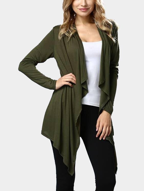 Army Green Long Sleeves Irregular Hem Cardigan