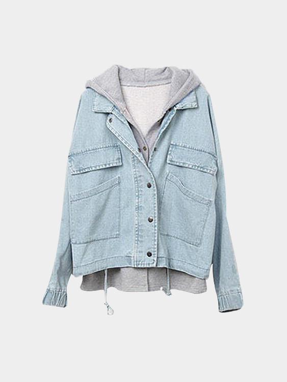 Hoodies Vest Bat-wing Button Closure Light Blue Denim Jacket
