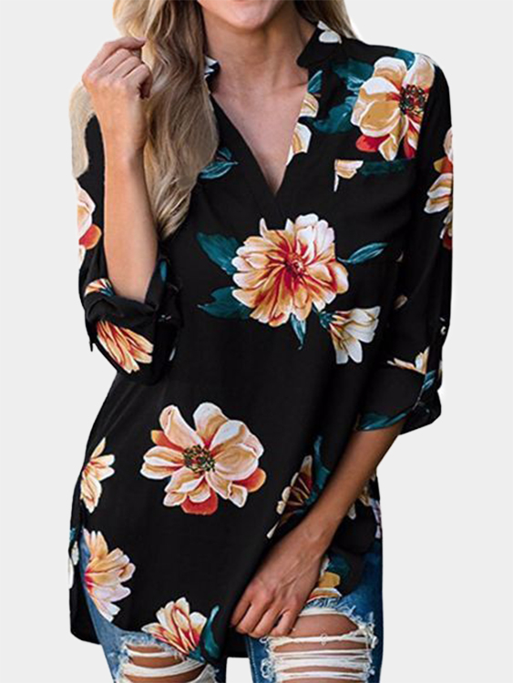 Black Floral Print V-neck Long Sleeves Curved Hem Blouses
