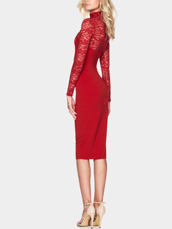 Red Sexy Long Sleeves Lace Bodycon Midi Dress