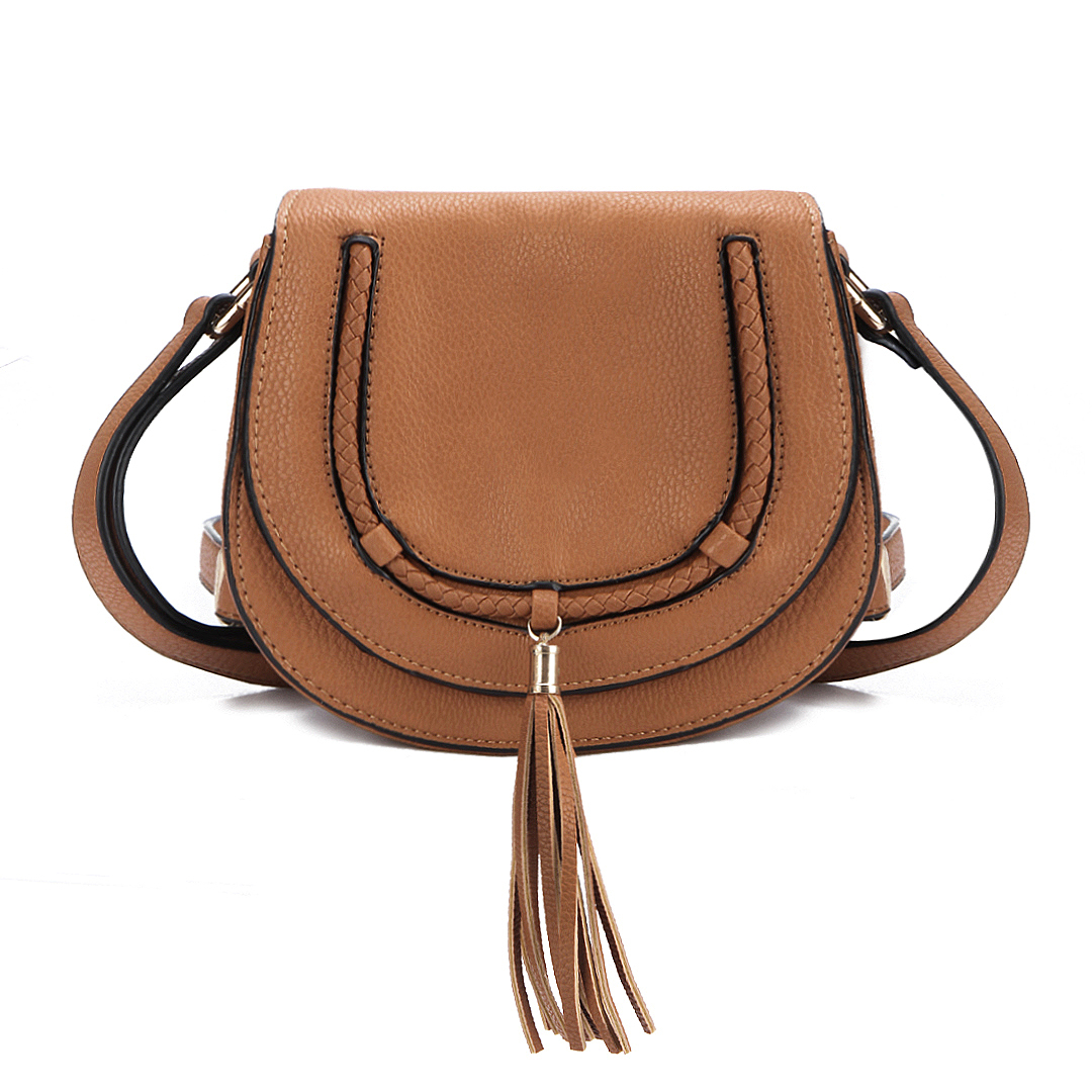 Brown Small Shoulder Bag with Tassel Embellished