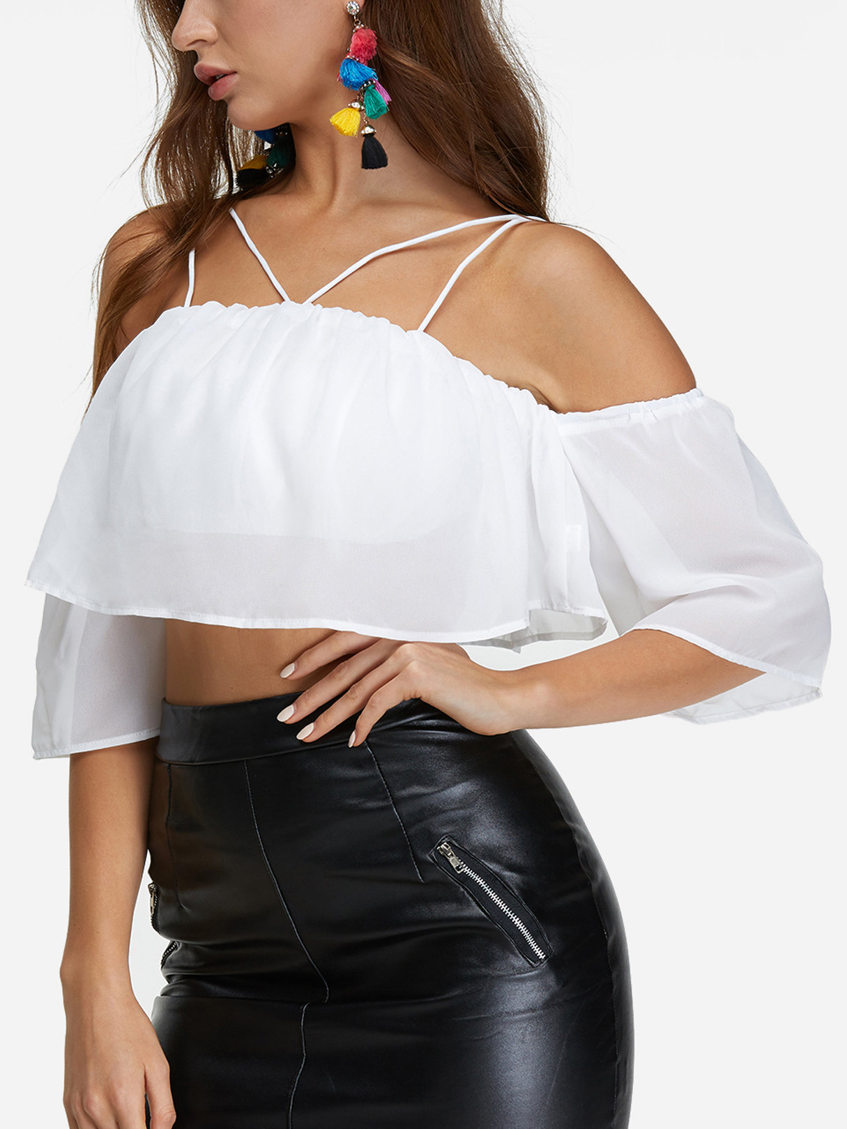 Off-The-Shoulder Crop Top in White sweet off the shoulder lace hem white crop top for women