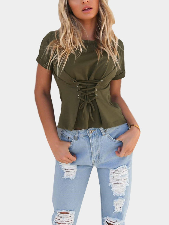 Army Green Lace-up T-shirt army green lace details cuffs t shirt dresses