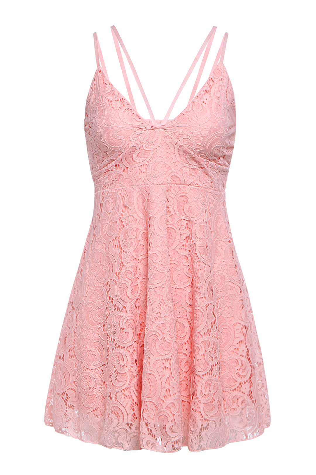 Sexy Plunge Neck Lace Dress with Thin Strap
