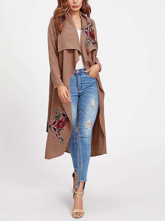 Pink Lace-up Design Embroidered Long Sleeves Trench Coat