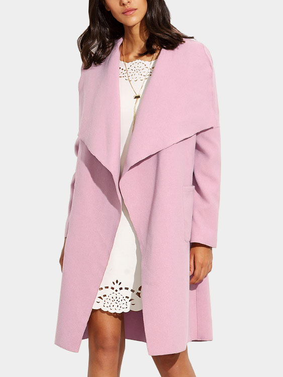 Pink Lapel Collar Tweed Trench Coat with Belt grey lapel collar duster coat with side pockets