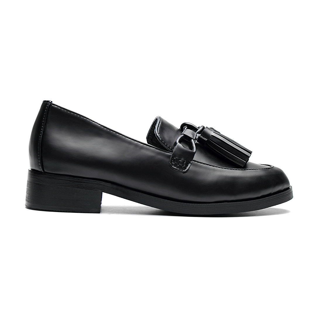Black Leather Look Tie Front With Tassel Low Heel Loafers