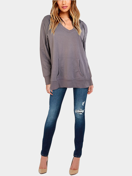 Grey Plunge Hooded Pocket Front Sweatshirt grey layered contrast color hooded strappy front sweatshirt