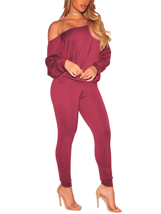 Burgundy Sexy Off-The-Shoulder Basic Two Piece Outfits plus split floral knot off the shoulder two piece outfit