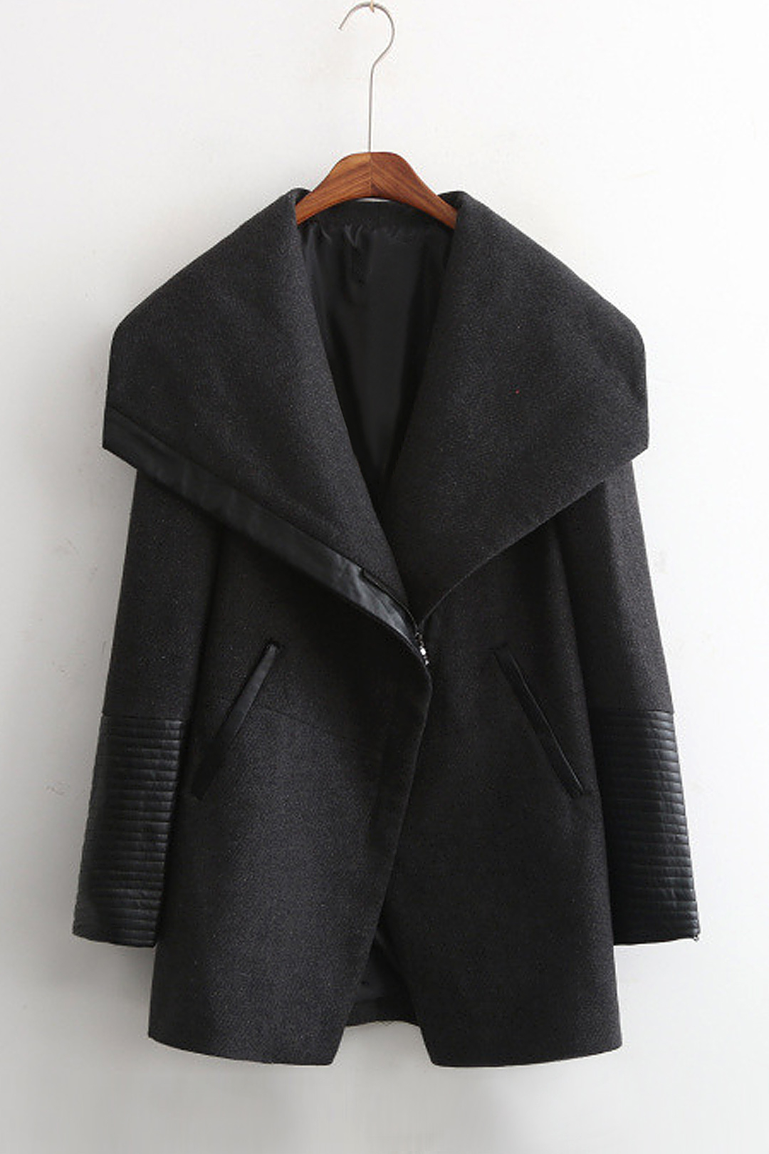 Waterfall Duffle Coat with Artificial Leather Detail от Yoins.com INT