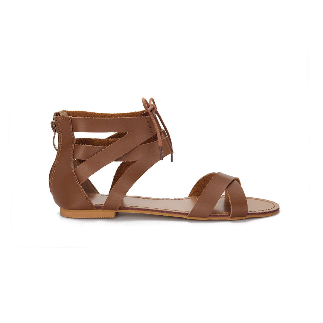 Brown Leather Look Cross Strap Zipper Back Lace-up Sandals