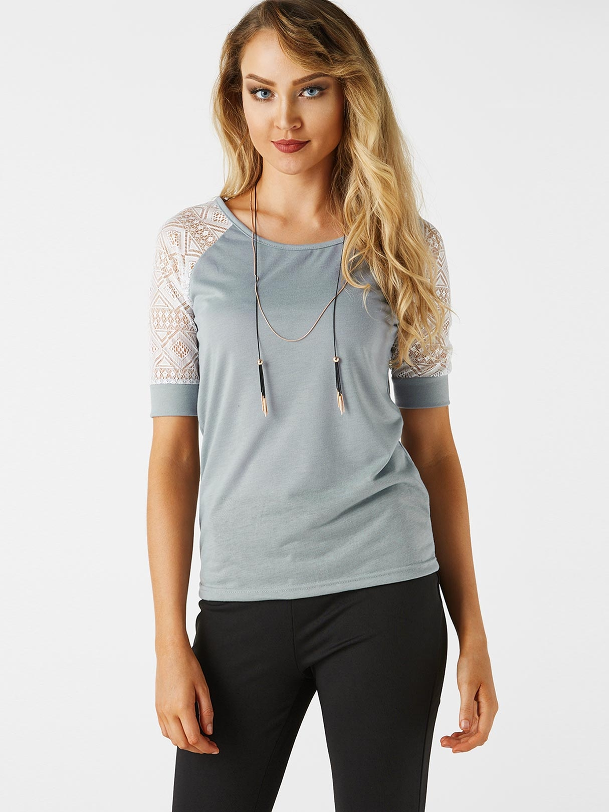 Grey Lace Details Round Neck Short Sleeves T-shirts grey lace details stripe round neck cami