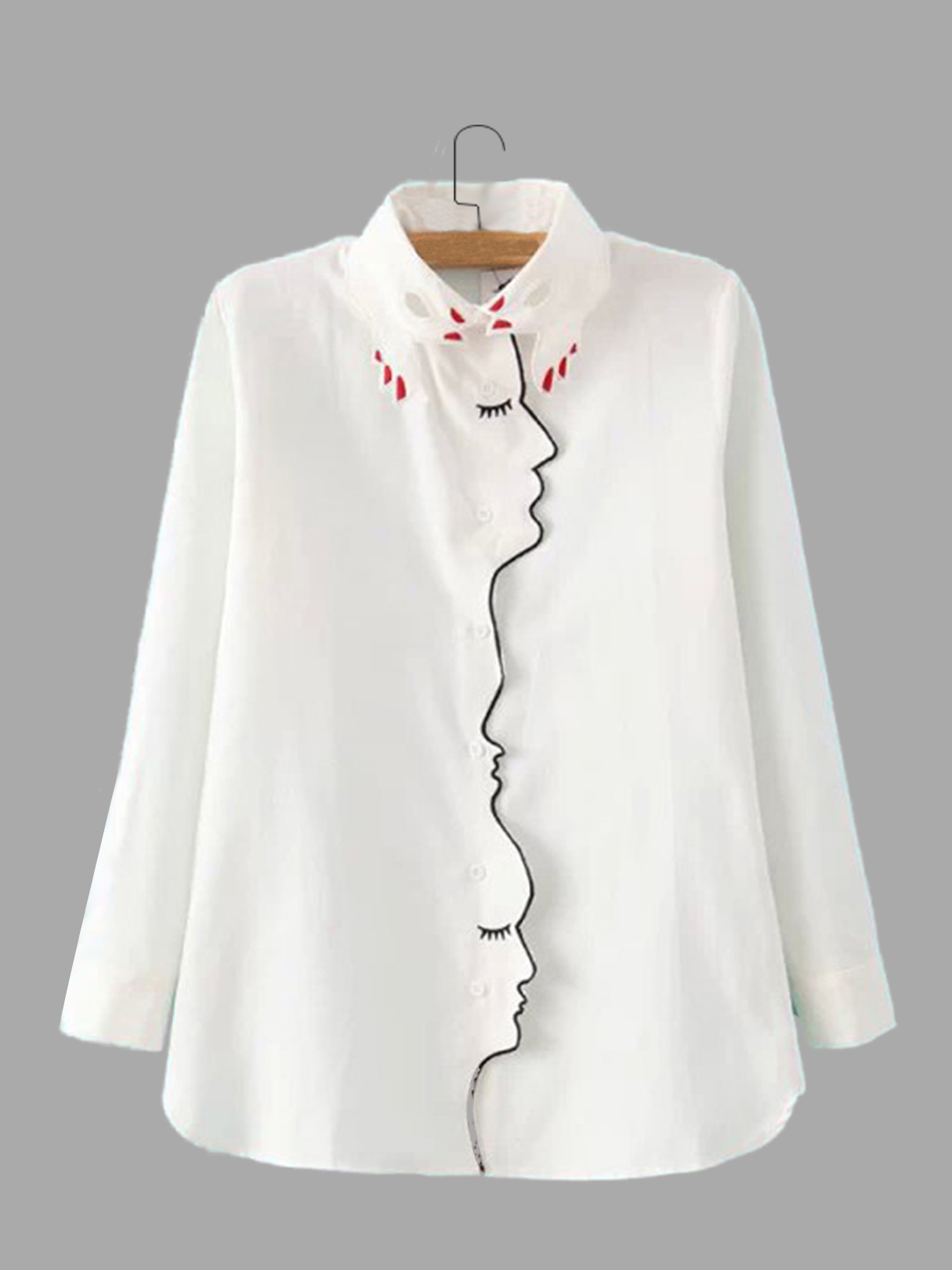 Embroidery Design Face Pattern Classic Neck Shirt