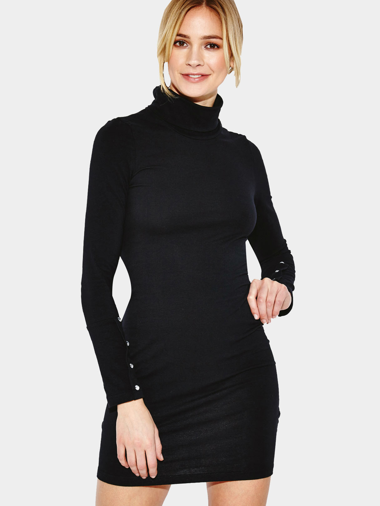 Black High Neck Bodycon Mini Dress with Long Sleeves фонарь maglite mini black m2a016e