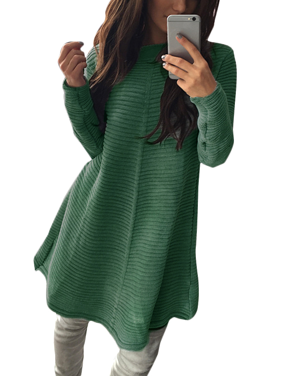 Green Stripe Knitted Round Neck Long Sleeves Casual Dress white casual round neck ruffled dress