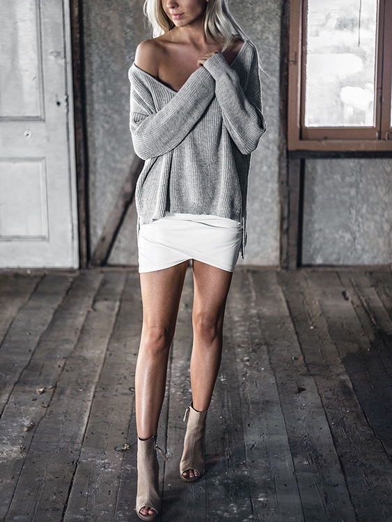 Grey V-neck Irregular Hem Plunge Jumper от Yoins.com INT