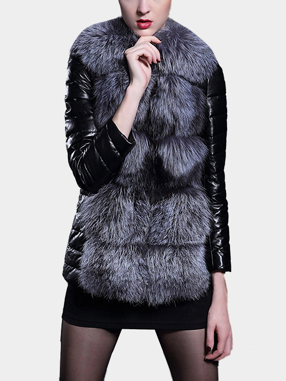 Leather Look Coat with Artificial Fur Details